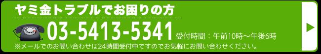 24時間いつでもサポートダイヤル 03-5413-5341